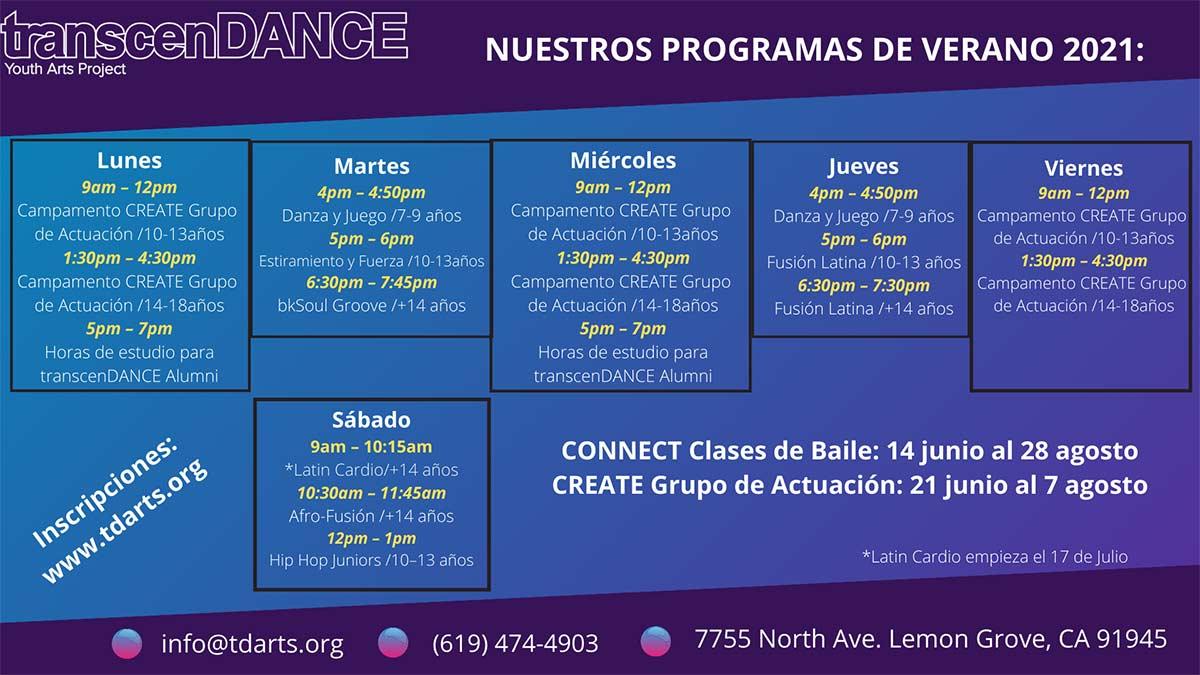 Summer Schedule - Spanish