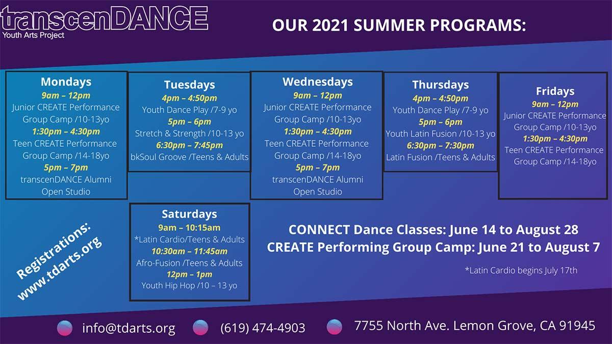 Summer Schedule - English